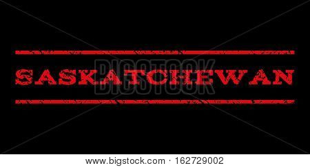 Saskatchewan watermark stamp. Text caption between horizontal parallel lines with grunge design style. Rubber seal stamp with scratched texture. Vector red color ink imprint on a black background.