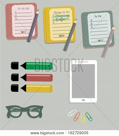 Stationery: The sheets of the planner in a cute polka dots. To Do Lists with little hearts. Stiсkers. Markers. Dark green glasses. Pencils. Clips. Mobile phone. Smartphone. Vector illustration.