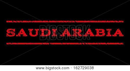 Saudi Arabia watermark stamp. Text caption between horizontal parallel lines with grunge design style. Rubber seal stamp with dust texture. Vector red color ink imprint on a black background.