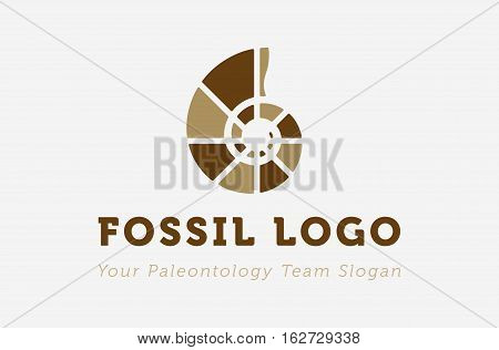 Fossil logo for paleontology entity. Modern flat design.