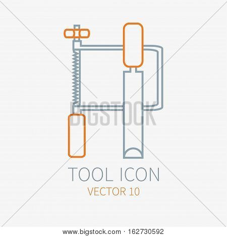 Line working color jig saw with chisel for construction building and home repair icon. Vector illustration for design. Hand work tool. Industrial cartoon style. Simple. Pictogram. Service. Equipment.