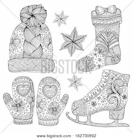 Vector hand drawn set of warm winter fashion women accessories. Various objects: mittens, socks, figure skates, hat, star. Pattern for coloring page. Coloring book for adults. Zentangle drawing.