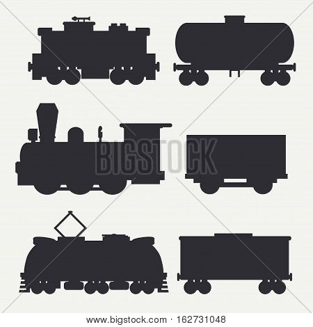Vector modern and vintage trains silhouettes set with cargo wagons and tank. Steam, diesel, electric locomotives. Cartoon style. Illustration and element for your design. Railway. Wagon. Retro.