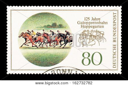 GERMANY - CIRCA 1993 : Cancelled postage stamp printed by Germany, that shows race Hoppegarten.