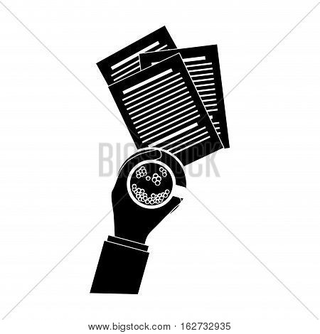 document and hand holding coffee office icon image vector illustration design