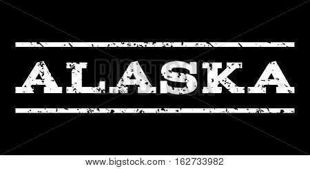 Alaska watermark stamp. Text tag between horizontal parallel lines with grunge design style. Rubber seal stamp with dirty texture. Vector white color ink imprint on a black background.