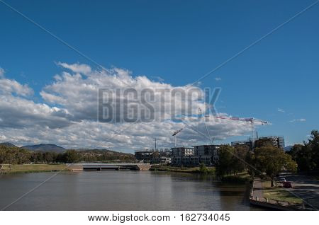 Canberra lake and hills view during afternoon.
