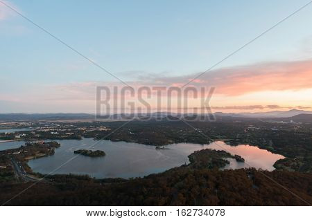 Evening sunset view of Canberra lakes and environs.
