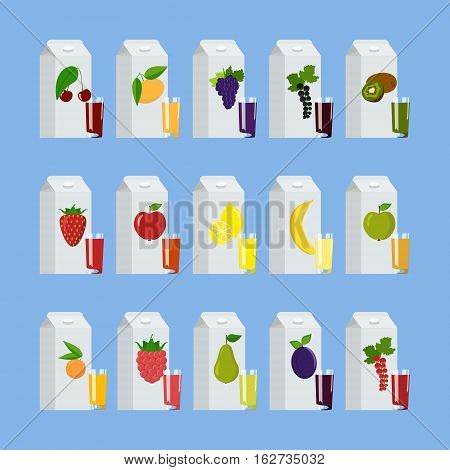 Different Juices Packs Isolated On White