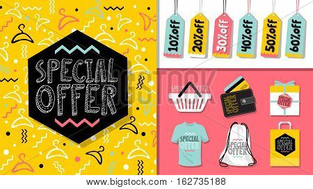 Special offer. Sale  website banner template set. 80's, 90's style bright colorful vector for social media, posters, email, print, ads, promotional material. Yellow Pink Blue black and white