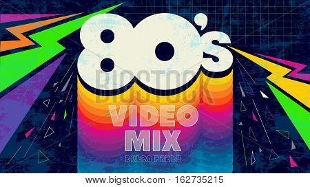 80's video mix. Vintage retro party.  Fashion, graphic background style.Funny video playlist. Easy editable for Your design.