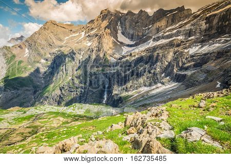 Scenic view of famous Cirque de Gavarnie with Gavarnie Fall in Pyrenees National Park.