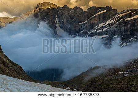 Beautiful landscape of Pyrenees mountains with famous Cirque de Gavarnie in background.