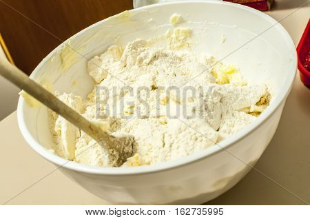kneaded flour for home made Christmas cookies