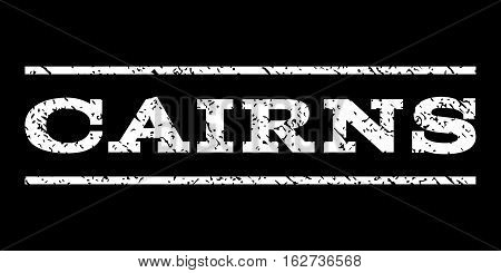 Cairns watermark stamp. Text tag between horizontal parallel lines with grunge design style. Rubber seal stamp with dirty texture. Vector white color ink imprint on a black background.