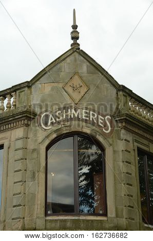 An exterior view of a cashmere store in Auchterarder