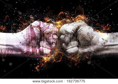 Monetary conflict concept. Male hands overlaid with US dollar and Euro banknote. Fire illustration.