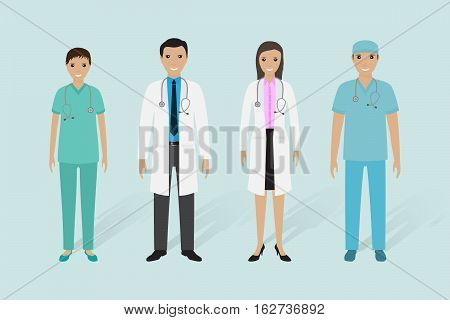 Medical staff group. Male and female doctors nurse medical orderly. Flat style vector illustration.