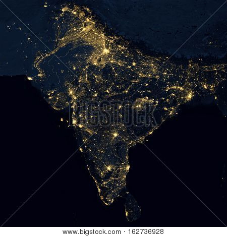 City lights on world map. India. Elements of this image are furnished by NASA
