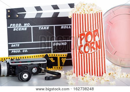 Large pot of popcorn on white background