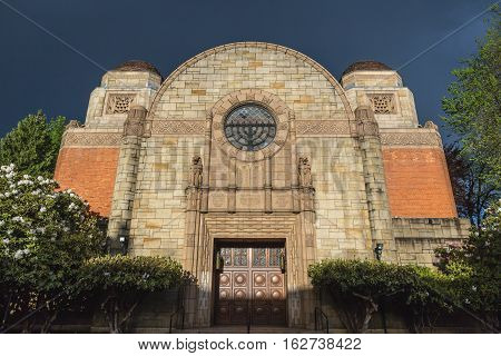 Jewish Temple or Mosque in Portland, Oregon, USA. Summer daytime setting.