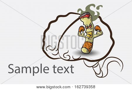 Black and white doodle brain background with cigarette and place for sample text