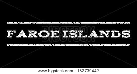 Faroe Islands watermark stamp. Text tag between horizontal parallel lines with grunge design style. Rubber seal stamp with dust texture. Vector white color ink imprint on a black background.