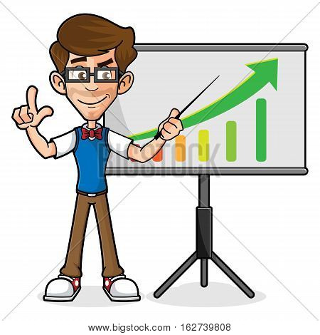 Nerd Guy Doing Presentation Isolated in White Background