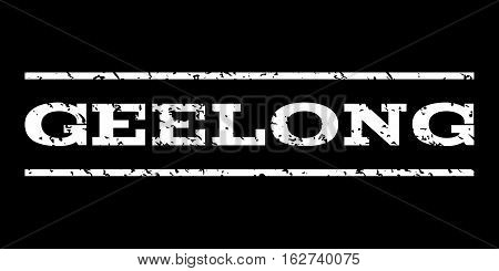 Geelong watermark stamp. Text tag between horizontal parallel lines with grunge design style. Rubber seal stamp with scratched texture. Vector white color ink imprint on a black background.