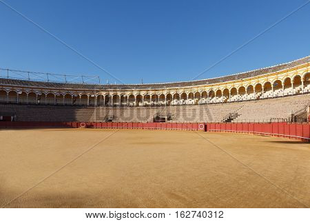 Plaza de los toros at Seville Spain. View from arena