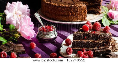 Sweets And Desserts. Chocolate Cake.