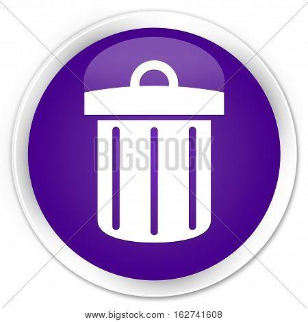 Recycle Bin Icon Premium Purple Round Button