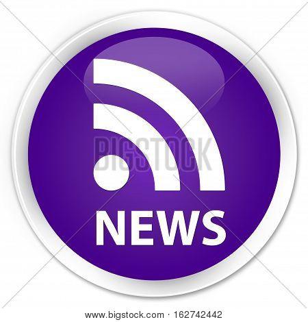 News (rss Icon) Premium Purple Round Button
