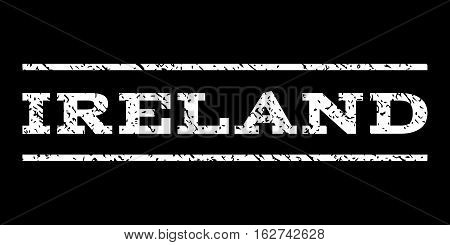 Ireland watermark stamp. Text caption between horizontal parallel lines with grunge design style. Rubber seal stamp with scratched texture. Vector white color ink imprint on a black background.