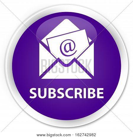 Subscribe (newsletter Email Icon) Premium Purple Round Button
