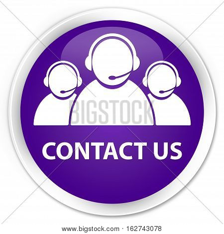 Contact Us (customer Care Team Icon) Premium Purple Round Button