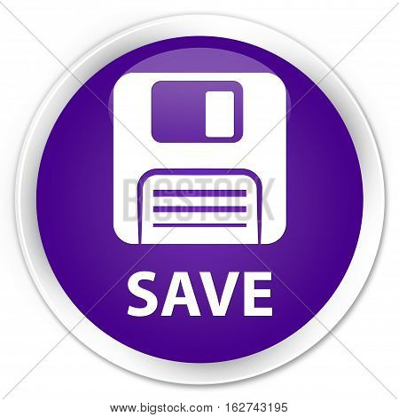 Save (floppy Disk Icon) Premium Purple Round Button