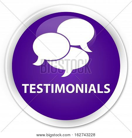 Testimonials (comments Icon) Premium Purple Round Button
