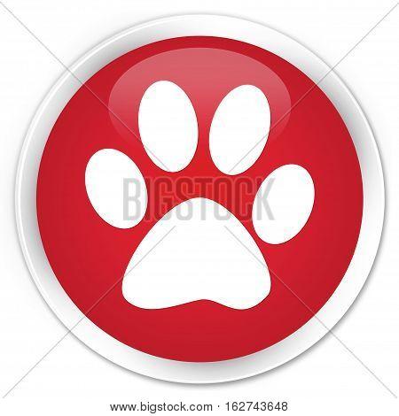 Animal Footprint Icon Premium Red Round Button
