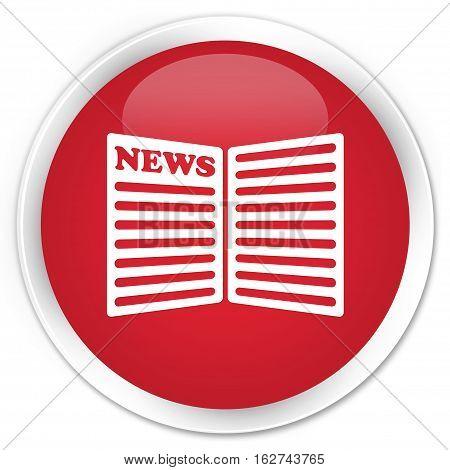 Newspaper Icon Premium Red Round Button