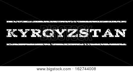 Kyrgyzstan watermark stamp. Text tag between horizontal parallel lines with grunge design style. Rubber seal stamp with unclean texture. Vector white color ink imprint on a black background.