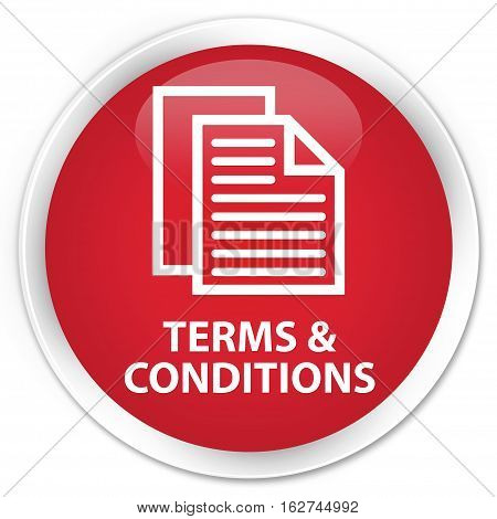 Terms And Conditions (pages Icon) Premium Red Round Button