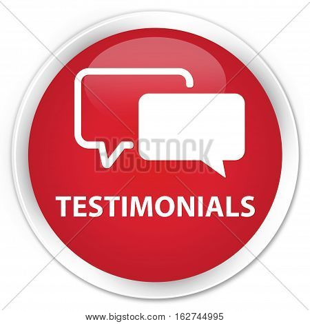 Testimonials Premium Red Round Button