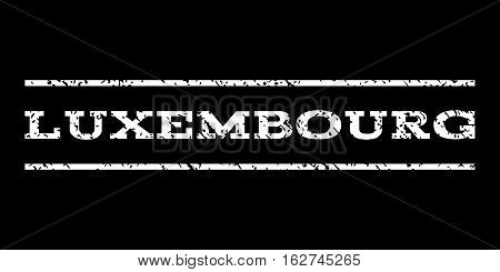 Luxembourg watermark stamp. Text caption between horizontal parallel lines with grunge design style. Rubber seal stamp with dirty texture. Vector white color ink imprint on a black background.