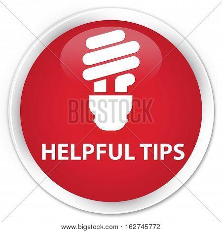 Helpful Tips (bulb Icon) Premium Red Round Button