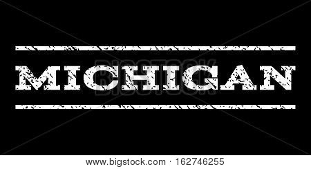 Michigan watermark stamp. Text tag between horizontal parallel lines with grunge design style. Rubber seal stamp with dirty texture. Vector white color ink imprint on a black background.