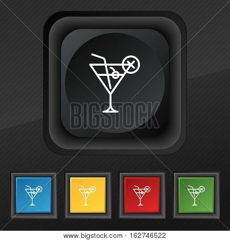 Martini Glass Icon Symbol. Set Of Five Colorful, Stylish Buttons On Black Texture For Your Design. V