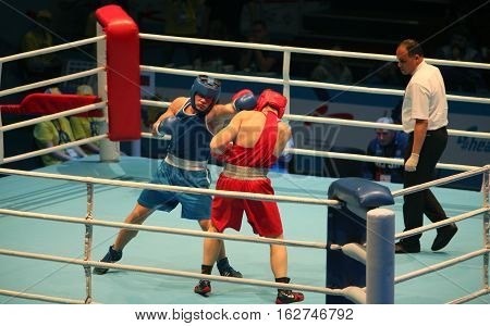 St. Petersburg Russia November 21 2016 Youth World Boxing Championships men blow to the head