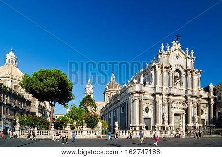 Piazza Duomo And Cathedral Of Santa Agatha. Catania, Sicily, Italy