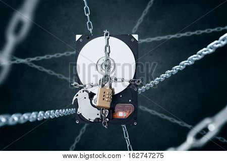 Chained hard disc drive with combination padlock Concept of data security